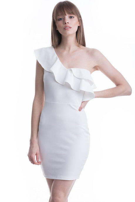 Ivory One Shoulder Ruffle Mini Dress