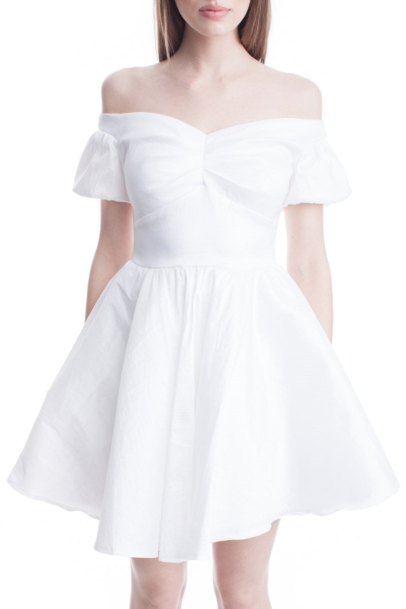 Ivory Satin Off The Shoulder Flare Bottom Mini Dress