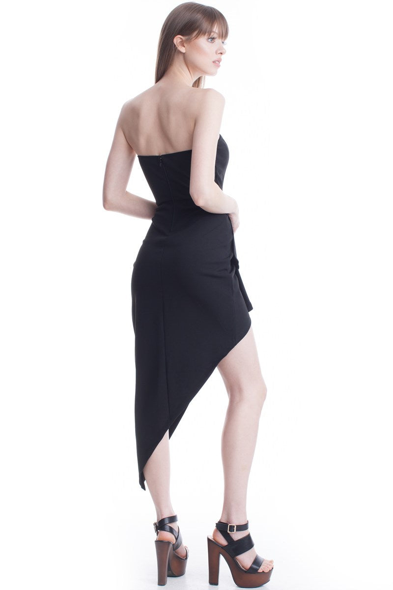 Black Asymmetric Hem Sweetheart Tube Dress
