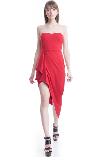 Red Asymmetric Hem Sweetheart Tube Dress