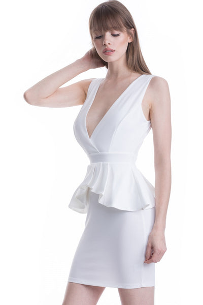 White Deep V-Neck Ruffle Waist Short Dress