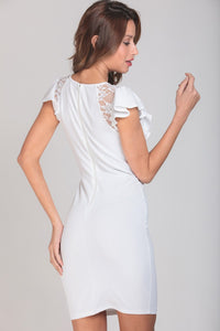Ivory Ruffle And Lace Paneled Mini Dress