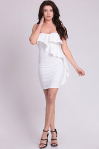 Ivory Ruffle Detailed Tube Top Mini Dress