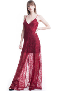 Burgundy See-Thru Legs Lace Maxi Dress