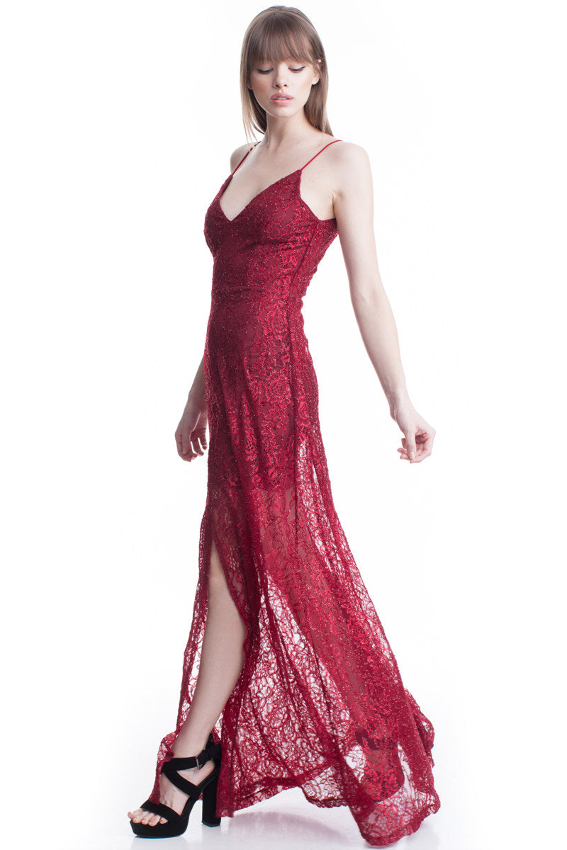Red Wine See-Thru Legs Lace Maxi Dress
