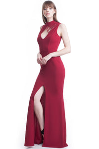 Burgundy High Neck Flow Line Evening Dress
