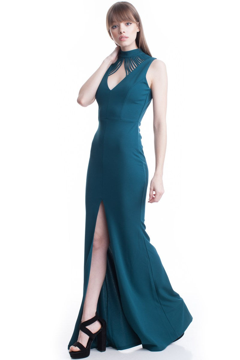 Teal High Neck Flow Line Evening Dress