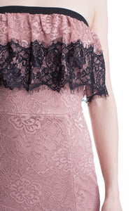 Mauve Lace Tube Top See-Thru Legs Maxi Dress