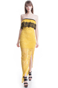 Yellow Lace Tube Top See-Thru Legs Maxi Dress