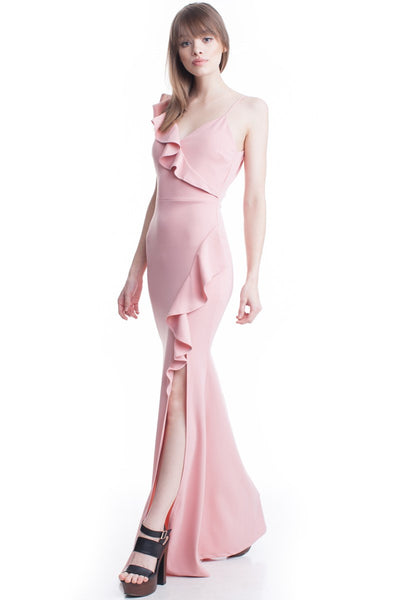 Rose Color V-Neck One Shoulder Ruffle Maxi Dress