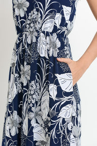 Navy Flower Printed Crew Neck Maxi Dress