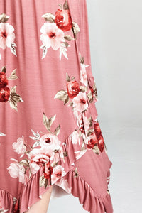 Mauve Flower Printed V Neck Maxi Dress