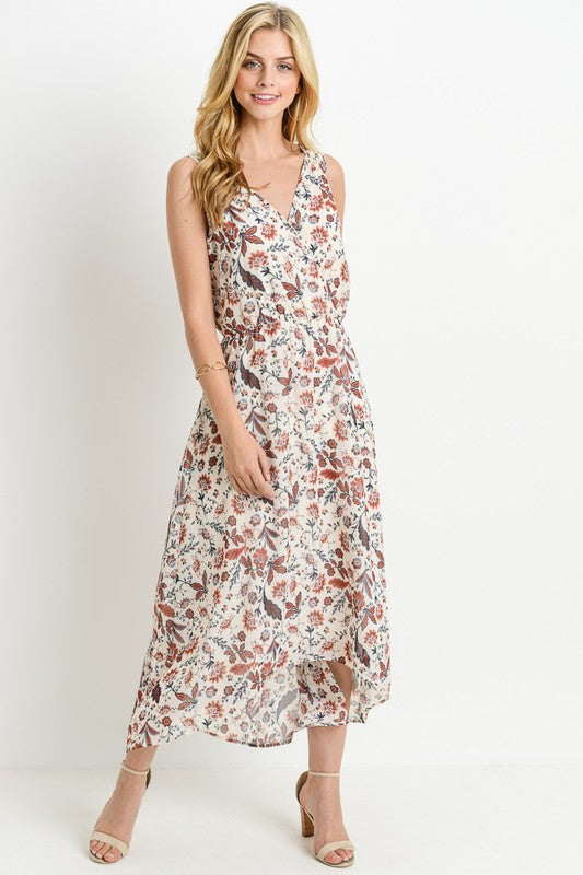 Orange Flower V-Neck Printed Maxi Dress