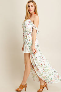 Sleeve Tie Off Shoulder Flower Print Dress