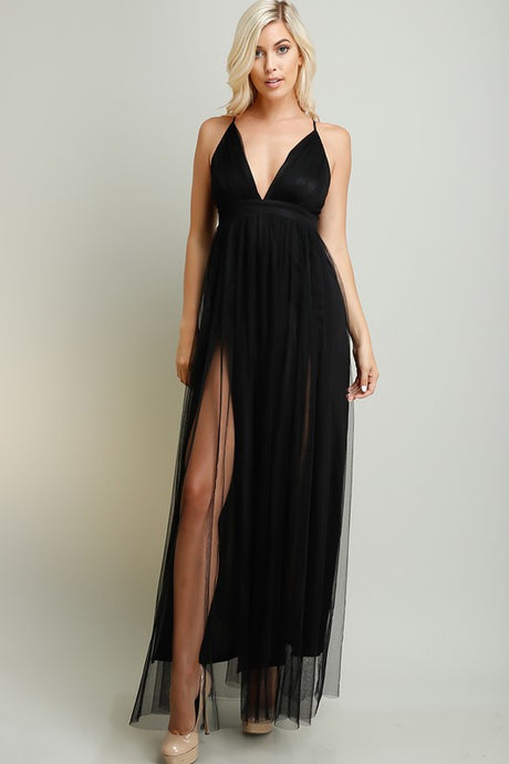 Black Strapped Cross Back Chiffon Maxi Dress