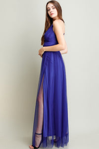 Royal Blue Strapped Cross Back Chiffon Maxi Dress