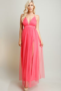 Coral Strapped Cross Back Chiffon Maxi Dress