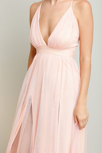Blush Strapped Cross Back Chiffon Maxi Dress