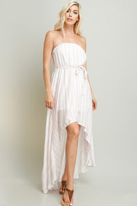 Blush Stripe Linen Hi-Lo Tube Dress