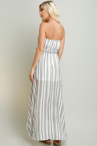 Black Stripe Linen Hi-Lo Tube Dress