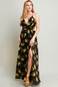 Yellow Flower On Black Printed Chiffon Maxi Dress
