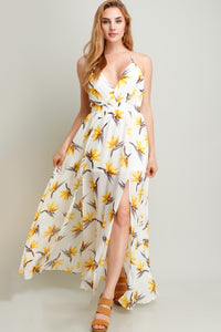 Yellow Flower On White Printed Chiffon Maxi Dress