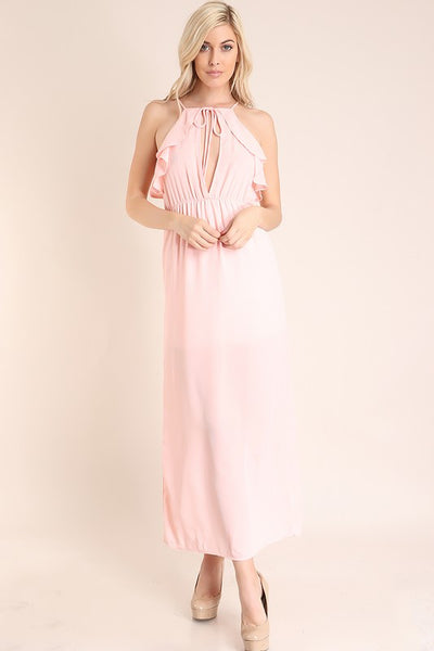 Blush Ruffle Open Front And Back Maxi Dress