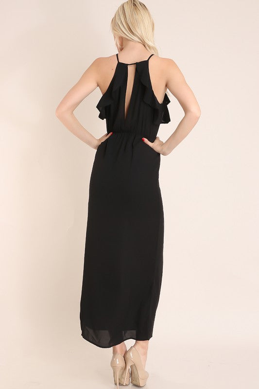 Black Ruffle Open Front And Back Maxi Dress