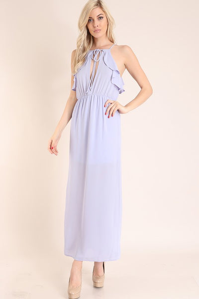 Lavender Ruffle Open Front And Back Maxi Dress