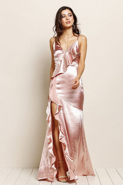 Rose Gold Silky Maxi Dress