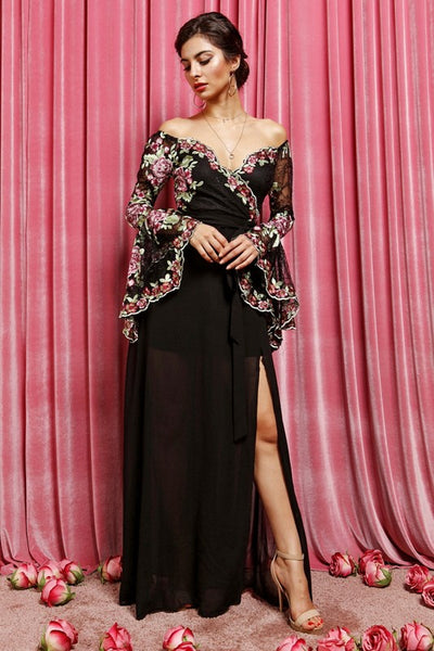 Dramatic Bell Sleeves Lace Floral Maxi Dress