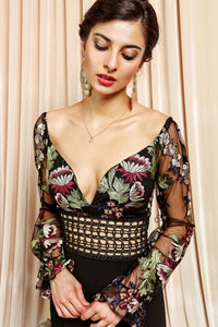 Embroidered Floral Bodice Long Sleeve Maxi Dress
