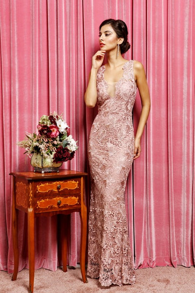 Dusty Rose Elegant Deep V-Neck Full Lace Maxi
