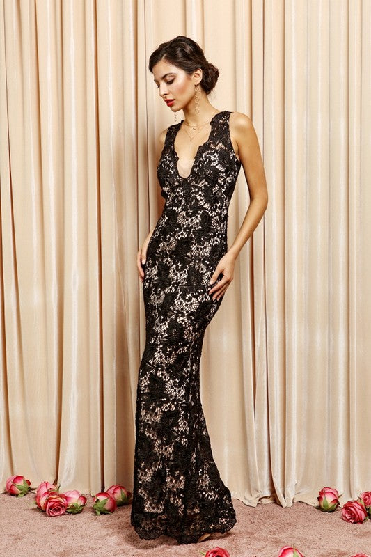 Black Elegant Deep V-Neck Full Lace Maxi
