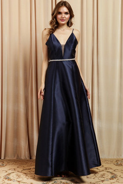 Navy Bead Belted Long Flare Evening Dress
