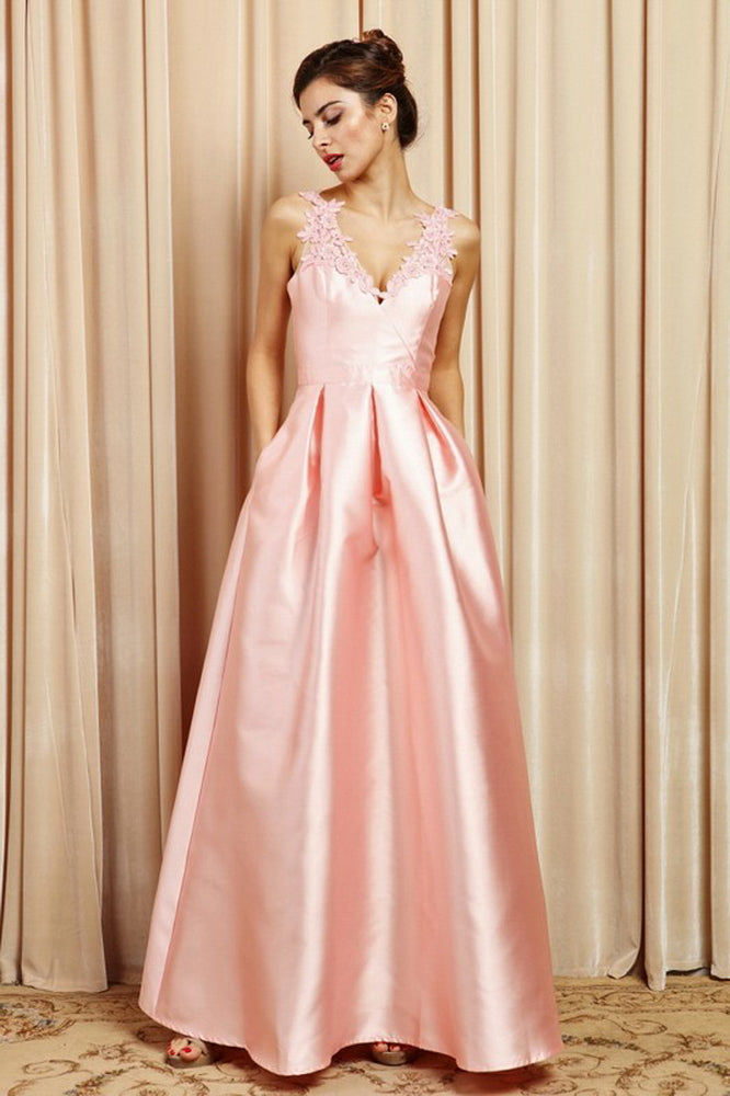 Blush Lace Shoulder Detail Gown Dress