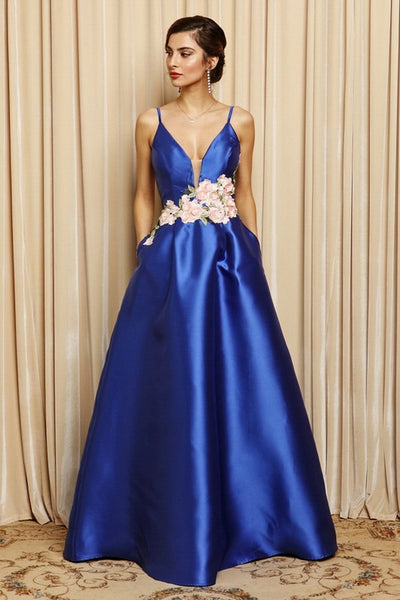 Floral Waist Detail Ball Gown Dress