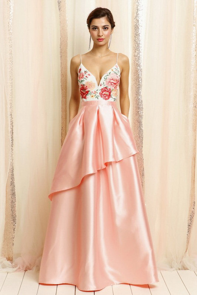 Embroidered Bodice Top Layered Gown Dress