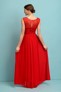Red Elegant Embellished Lace Top Chiffon Maxi Dress