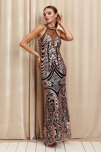 Black/Mauve High Neck With Rhinestones Full Body Sequins Long Dress