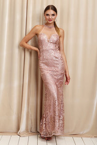 Mauve High Neck With Rhinestones Full Body Sequins Long Dress