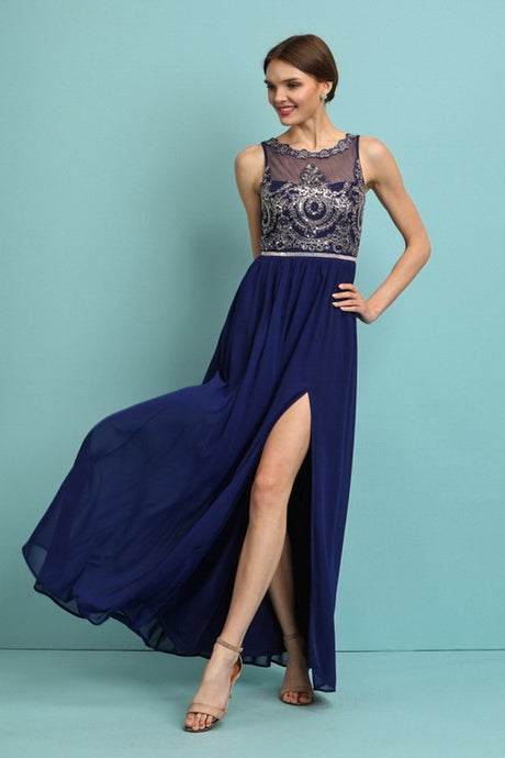Navy Embellished Stones Top Chiffon Maxi Dress