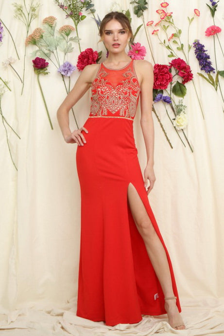 Red Embellished Top Fitted Maxi Dress