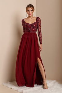 Burgundy Long Sleeve Sequins Top Chiffon Maxi Dress