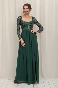 Emerald Green Long Sleeve Sequins Top Chiffon Maxi Dress