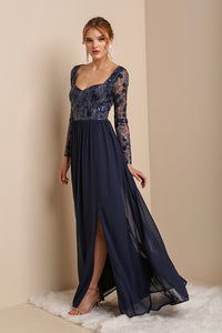 Navy Long Sleeve Sequins Top Chiffon Maxi Dress