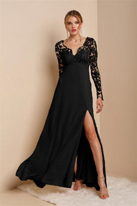 Black Lace Long Sleeve Top Chiffon Maxi Dress