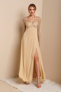 Gold Lace Long Sleeve Top Chiffon Maxi Dress