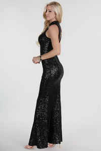 Black Sheer Yoke Full Sequins Long Dress