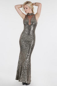 Yellow Gold Sheer Yoke Full Sequins Long Dress